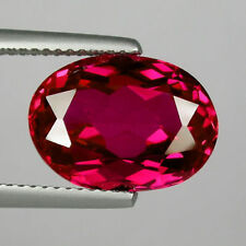 A PAIR OF 8x6mm OVAL-FACET TOP-RED RUBY GEMSTONES