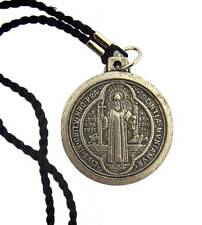 """MRT St Benedict Silver Plate Catholic Saint Medal Rope Necklace Gift 1"""" Italy"""