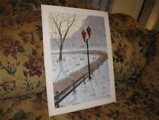Original Outsider Art Oil Painting Old Country Road Driveway, Lamp, Millikin