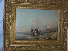"Seascape""Major"" Flemish Antique c19th Century Original  Oil On Canvas Painting"