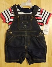 CARTER'S BABY BOYS 2 PIECE SET - SIZE 3 MONTHS -BLUE OVERALLS WITH STRIPED SHIRT