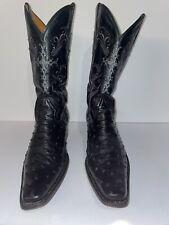 Gavel Men'S Cortez Full Quill Ostrich Boot -Black Size 10 Usa
