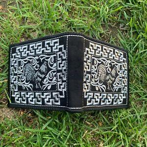 Men's embroidered Black Wallet Cartera Bordada Negra Billetera