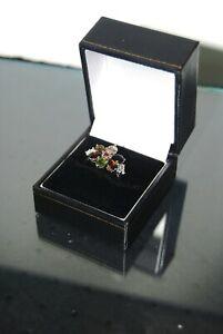 9 Ct White Gold Multi-Gem Set Ring