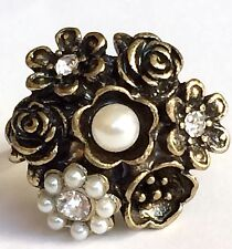 Gold Plated Rose Flower Cocktail Ring Roses Bloom Pearl Crystal Size 6 Vintage