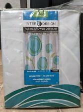 "New listing InterDesign Marigold Fabric Shower Curtain, Standard 72"" x 72"", Blue/Green"
