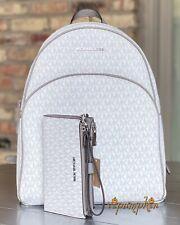 Michael Kors Abbey Jet Set Large Leather Backpack - White