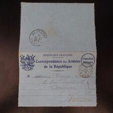 LETTRE COVER CORRESPONDANCE DES ARMÉES DE LA RÉPUBLIQUE TRÉSOR ET POSTE 1915