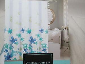 New Cynthia Rowley FLOATING FLOWER  Shower Curtain 72x72 ~ Teal, Blue & Green