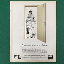 (V66) PORTE IN LEGNO DILA' Disegno CREPAX PUBBLICITA' RITAGLIO CLIPPING 28x21cm