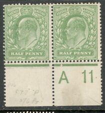 Edward VII - SG 218 - 1/2d Yellowish Green - Mint Hinged - Control A 11