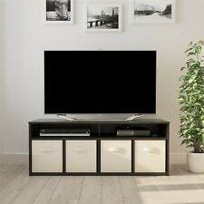 """Tv Stand Mainstays 4 Cube TV Console for TVs Up to 59"""", True Black Oak"""