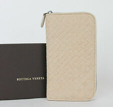 NEW Authentic BOTTEGA VENETA Leather Woven Zip Around Wallet Nude 132358 9641