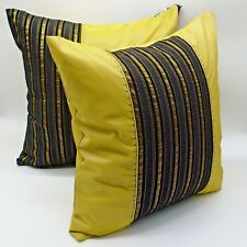 "2pcs/lot 18x18"" 45x45cm pillow cover cushion case black gold yellow faux silk"
