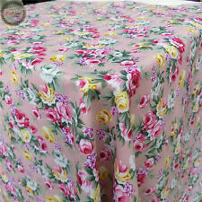 Shabby Chic Rose Floral Flower Printed Fabric Vintage Sewing Quilting Material Pink by The Metre (100cm X 150cm)
