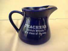 Teachers Scotch Whisky Jug With Gold Leaf Ribbed Blue Color Collectibles Rare *F