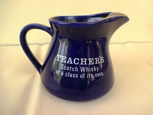 Teachers Scotch Whisky Jug With Gold Leaf Ribbed Blue Color Collectibles Rare F