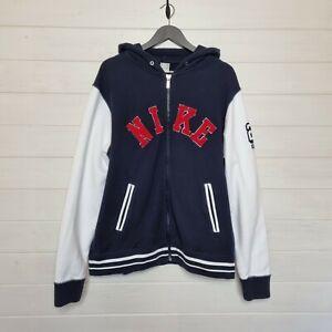 "NIKE Varsity Style Zip Hoodie Jacket (Size XL/46-50"") Rare 90's Design"