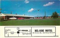 1960s Bel Aire Motel Mt Vernon Missouri Aurora postcard 5885
