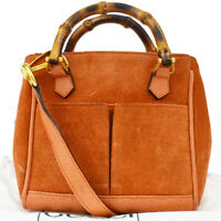 Authentic GUCCI Bamboo 2Way Shoulder Hand Bag Suede Leather Orange Italy 38MD481