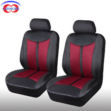 2 Front 6 pcs PU Leather Mesh Car Seat Covers Set Breathable Red Seats Protector