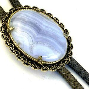 Southwestern Blue Lace Agate Bolo Tie Gray Cord Gold Tone Filigree