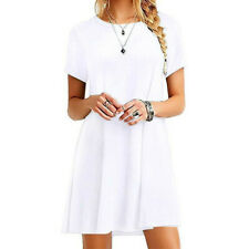 Womens Summer Short Sleeve T Shirt Dress Plus Size Beach Sundress A Line Dress