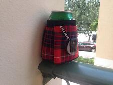 Fraser Red  Tartan Plaid  Beer Bottle Koozie Kilt & Sporran Fun Christmas Gift