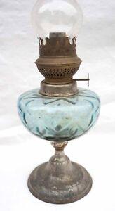 French Oil Kerosene Lamp Brenner Kosmos Burner Blue Pressed Glass
