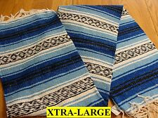 XL Blue Light Blue Hand Made Authentic Mexican Falsa Blanket Throw Rug Cuamatzi