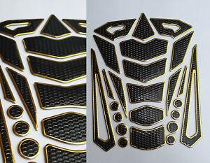 Tankpad Tankschutz Motorrad Carbon Optik 3D universell Tankschutz Gold Honda KTM