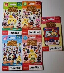 Animal Crossing Amiibo Card Pack Series 1, 2, 3, 4, Sanrio (5 packs of 6 cards)