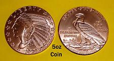 BIG 5oz Coin (63MM) • INCUSE INDIAN Design 5 oz • .999 Copper Bullion