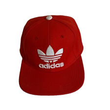 Embroidered Adidas Snapback Flat Cap Hat Red & White: One Size Fits Most