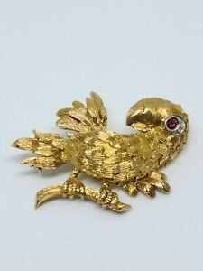 18k yellow gold safety pin Diamond brooch hand engraved 0.05ctw Diamonds