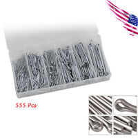 """555pc Industrial Cotter Pin Assortment Clip Key 6size 1/2""""-3/32"""""""