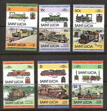 St Lucia 1984 Trains Locomotives Se-Tenant (Front/Side/Action) MNH (SC# 674-679)