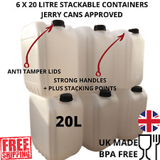 6 x 20 litre new plastic bottle jerry can water container new sturdy design