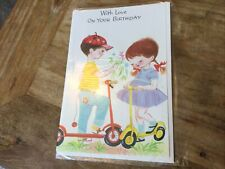 Vintage Happy Birthday card - Boy And Girl On Scooters