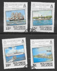 SOLOMON ISLANDS LLOYDS LIST SET SG 519-22; VERY FINE USED.