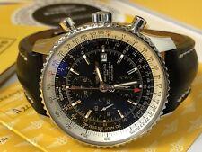 Breitling Navitimer World GMT A24322 Watch 46mm Black & Deployment A2432212/B726