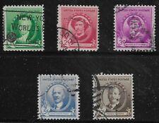 US Scott #884-88, Singles 1940 Complete FVF Used