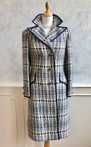 Vintage 1960's COJANA Blue White Welsh Wool Dagger Collar Retro Winter Coat S 10
