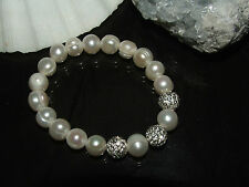 White Cultured Pearl Stretch Bracelet Large Pearls with White Crystal Beads