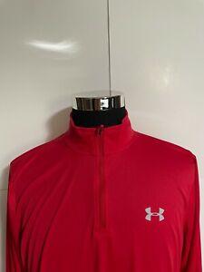 Under Armour Mens 1/4 Zip Shirt Jacket Large Loose Red Heatgear