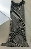 NWT Chico's Travelers Geo Collage Emma Maxi Dress Size 2 (Medium) Dark Brown Off