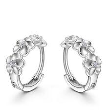 Fashion 925 Sterling Silver Women Elegant CZ Crystal Camellia Hoop Earrings