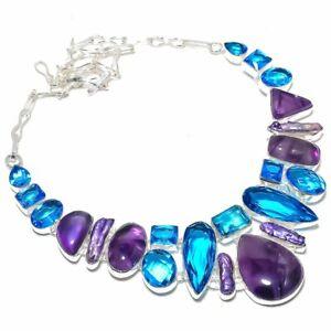 "African Amethyst, Blue Topaz Gemstone Handmade Jewelry Necklace 18"" ZN-1298"