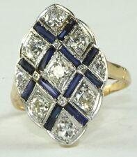 2 Carat Mine Cut Diamond Sapphire Ring Vtg Antique Art Deco 18K Gold Platinum