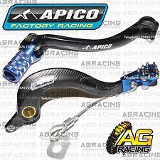 Apico Black Blue Rear Brake & Gear Pedal Lever For Yamaha YZF 250 2011 Motocross